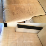 Химчистка углового бежевого дивана